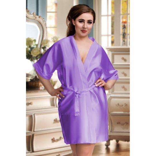 Kimono mit 3/4 Arm und Taschen bis Größe 7 XL in hell lila Nine X Lingerie