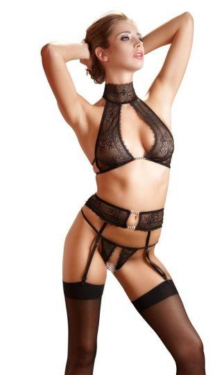 Cottelli BH Straps Set aus Spitze in schwarz bis Größe XL