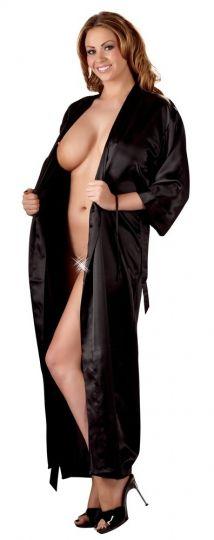Cottelli Satin Kimono lang und schwarz bis Größe 3XL