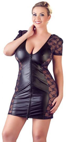 Cottelli Wetlook Kleid mit Spitze schwarz bis Größe 60-62
