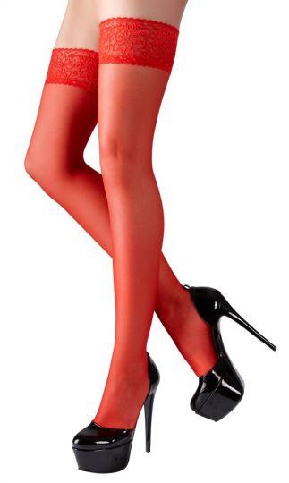 Cottelli halterlose Strümpfe rot bis Größe XL