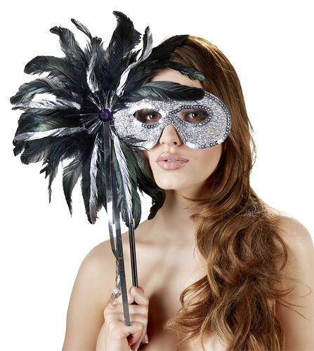 Maske mit Stab schwarz-silber