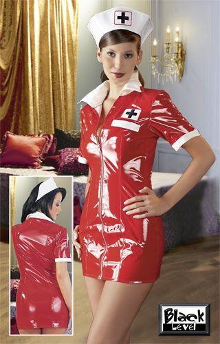 Krankenschwester Kostüm in rotem Lack bis Größe XL