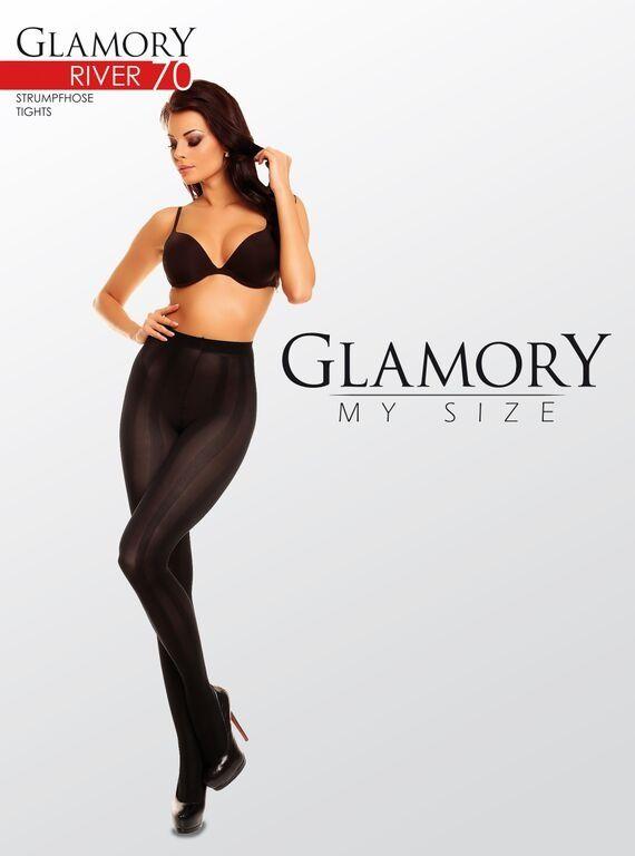 Glamory Strumpfhose blickdicht mit Längstreifen bis Größe 58