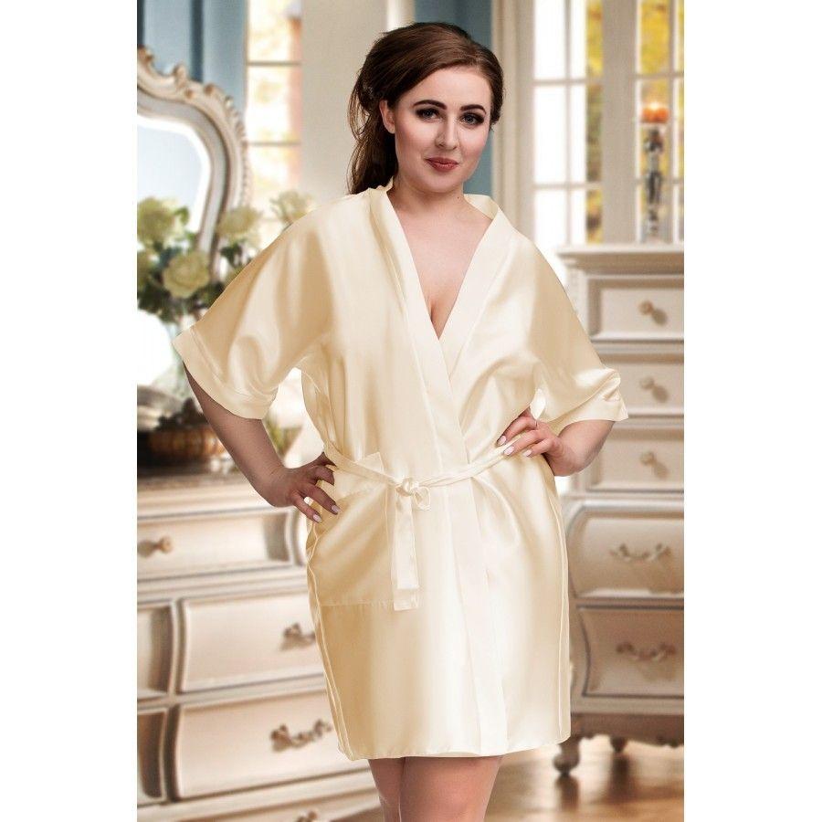 Nine X Kimono mit 3/4 Arm und Taschen bis Größe 7 XL in champagner
