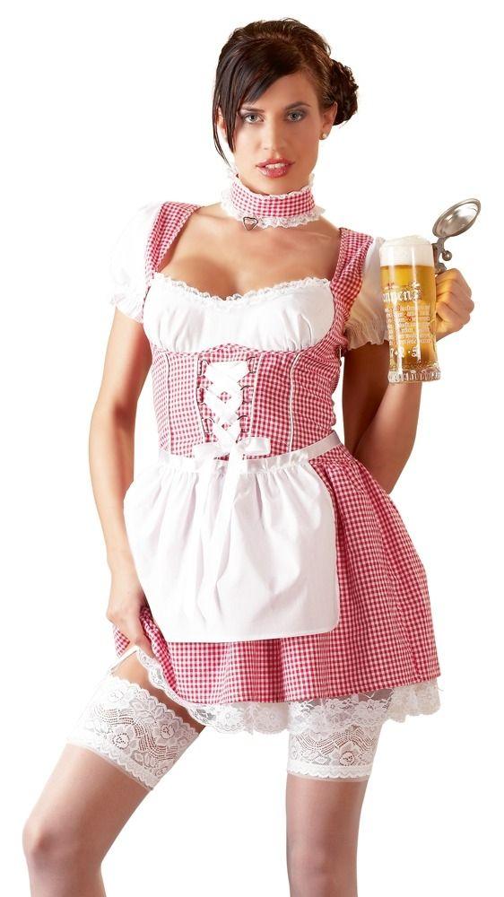 Cottelli Dirndl Kleid mit Zubehör in pink-weiß bis Größe XL