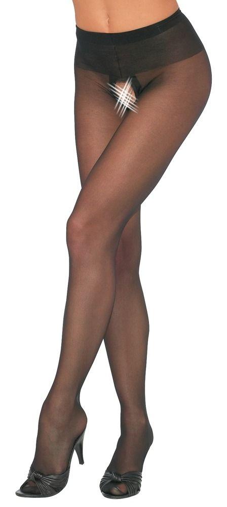 Cottelli Strumpfhose ouvert schwarz bis Größe 50