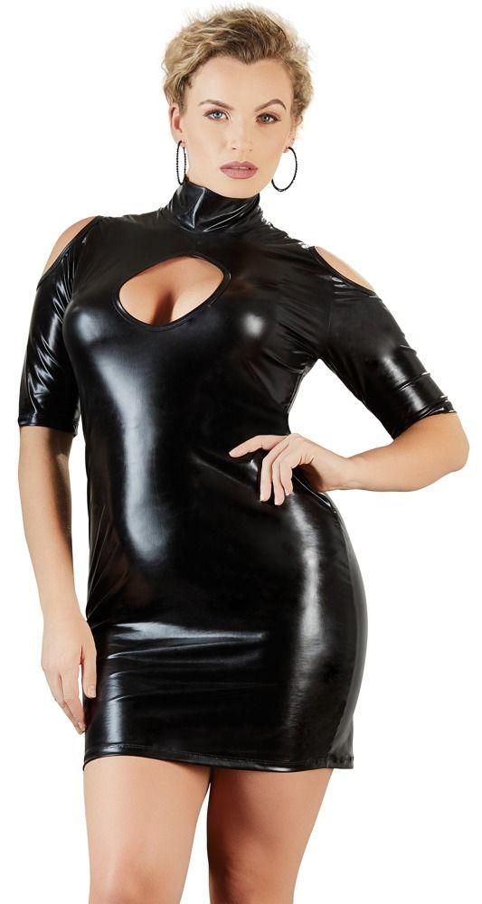 Cottelli Wetlook Kleid mit Kurzarm bis Gr. 4 XL