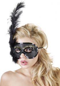 Maske mit Federn schwarz mit Pailetten