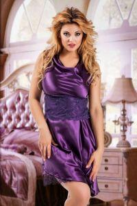 Nine X Babydoll aus Satin mit Spitze bis Größe 2 XL purple