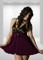 Nine X Babydoll mit ausgestelltem Rock in purple/schwarz  bis Größe 8 XL
