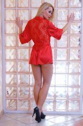 Nine X Satin Kimono kurz mit Spitzenrücken champagner bis 5 XL