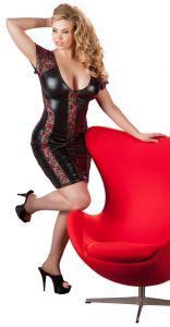 Wetlook Kleid mit Spitze und roten Einsätzen bis Größe 4 XL