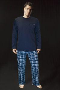 Lisca Herren Pyjama mit Langarm Shirt blau bis XXL