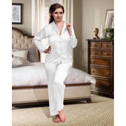 Weißer Satin Pyjama
