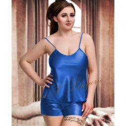 Nine X Lingerie Satin Hemdchen Set mit kurzer Hose Blau