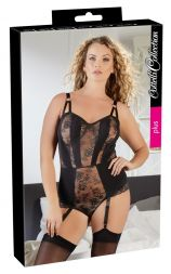 Das Bild zeigt eine Frau in Body mit Straps von der Marke Cottelli in der Farbe schwarz.Straps