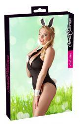 Cottelli Bunny Body schwarz mit Haarreif bis Größe XL