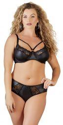 Auf dem Bild sehen Sie eine Frau in einem Wetlook Slip in der Farbe schwarz mit einem Wetlook BH von der Marke Cottelli.