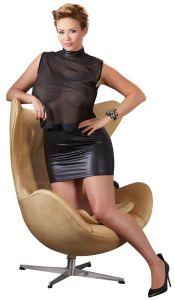 Cottelli Negligee Minikleid in Transparenz mit Wetlook Rock bis 4 XL