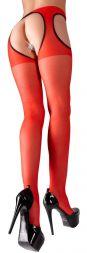 Cottelli Strumpfhose ouvert rot bis Größe XL