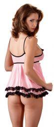 Cottelli Babydoll rosa mit schwarzer Spitze bis XXL